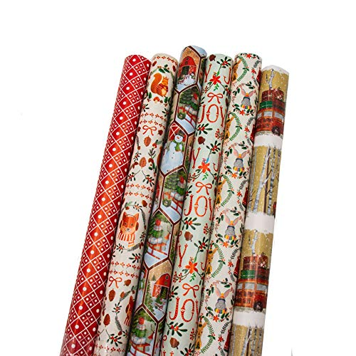 "Bundle of 6 Rolls of 40"" Christmas Holiday Contemporary Traditional Gift-wrap Wrapping Paper, Woods, Deer, Bears, Squirrel, Sled with Gifts, Joy"