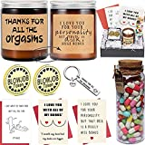 Funny Naughty Gifts for Boyfriend -97Pcs Anniversary Valentines Day Birthday Gifts Set Basket Sex Things for BF Him Men Husband Romantic Funny Scented Candles Token Keychain Capsule Letters Cards