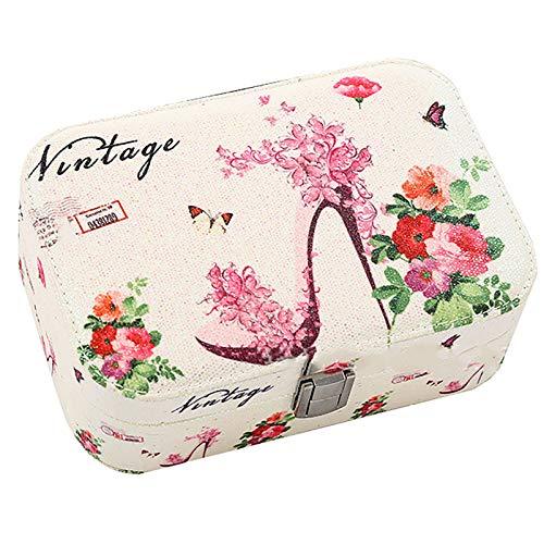 Anillo Pendientes Joyería Caja Organizador para Mujeres Mujeres, Caja De Almacenamiento De Joyas De Viajes Pequeños, Pulsera De Collar Joyería De Cuero PU High Heels