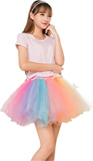 MizHome Womens Rainbow Tutu Skirt Layered Tulle Skirt Adult Halloween Costumes