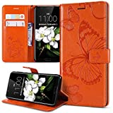 Kompatibel mit Schutzhülle Huawei Honor View 10 Hülle,Prägung 3D Schmetterling Relief Lanyard Muster PU Lederhülle Flip Hülle Cover Ständer Bookstyle Wallet Tasche Hülle Schutzhülle Handyhülle,Orange