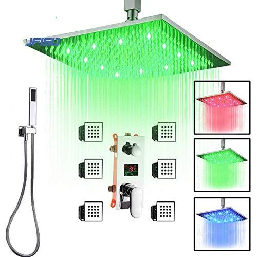 Gnailur Caja integrada Triple Válvula Baño Ducha Grifo de ducha oculto Montado en el techo LED Grifos de baño Temperatura Cartucho de visualización digital-10 pulgadas