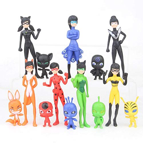Kinda Inc 14 pcs Ladybug Action Figure - Ladybug and cat Noir Miraculous Action Figures - Miraculous Ladybug Toy Set Minifigures - Ladybug Tikki Dolls 14 Set – Miraculous Toys