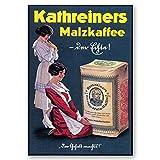 LegendArte Poster Vintage Pubblicitario Kathreiners Malz-Kaffee cm. 50x70 - Quadro su Tela, Decorazione Parete