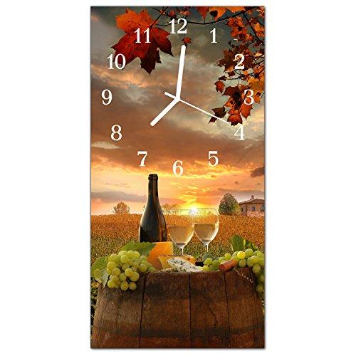 DekoGlas Glasuhr 'Traube Wein Mehrfarbig' Uhr aus Echtglas, eckig große Motiv Wanduhr 30x60 cm, lautlos für Wohnzimmer & Küche