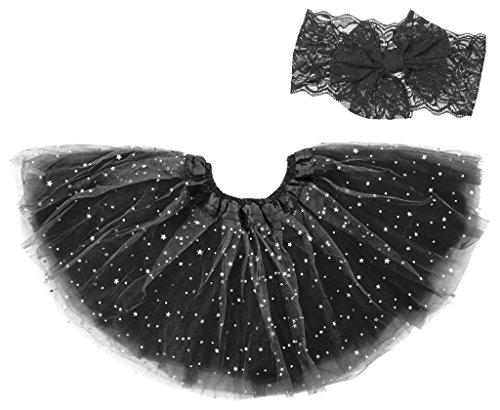 Dancina Halloween - Juego de diadema con tutú brillante para bebés y niños pequeños de 6 meses a 4 años Negro Negro ( Talla única