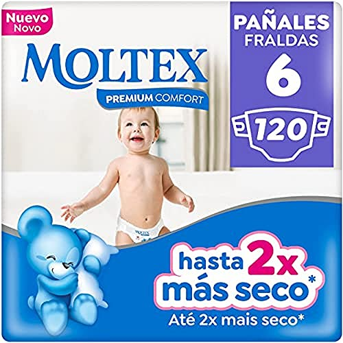 Moltex Premium Comfort Pañales Talla 6 (17-28 Kg) - Pañales, White, 120 Unidad