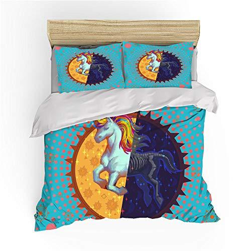 BSZHCT Duvet Cover Set King bed Size Blue polka dot unicorn Printed Bedding Set 100% Hypoallergenic Microfiber Quilt Cover and 2 Pillowcases Duvet Set Gift for Teens Girls boy adult