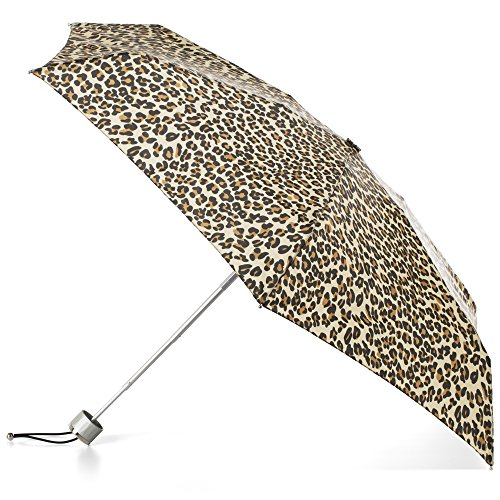 totes Compact Water-Resistant Travel Foldable Umbrella, One Size, Leopard Spot