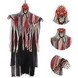Wishstar Decoración de Halloween Horror, Blanco Grim Reaper Ghost 104 cm, con Calavera y Grilletes de Cadena, Decoración de Terror Espeluznante para Fiesta Temática de Carnaval de Halloween