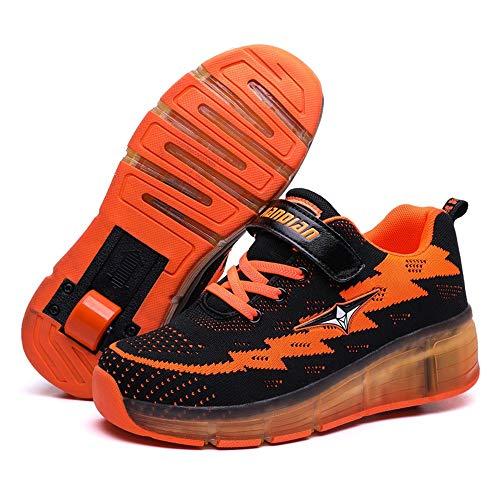WXBYDX Kids LED Chaussures à Skates, avec Ajustable Roues Et USB Rechargeable Clignotante Patins à roulettes Outdoor Gymnastique Skateboard Baskets pour Garçons Filles,Taille,28-40Black-38