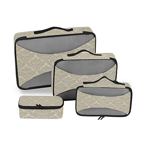 DEZIRO Buff - Cubos de embalaje con textura barroca, 4 unidades, accesorios organizadores de viaje