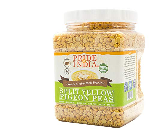 Pride Of India - Indian Split Yellow Pigeon Peas - Protein & Fiber Rich Toor (Arahar) Dal, 1.5 Pound Jar