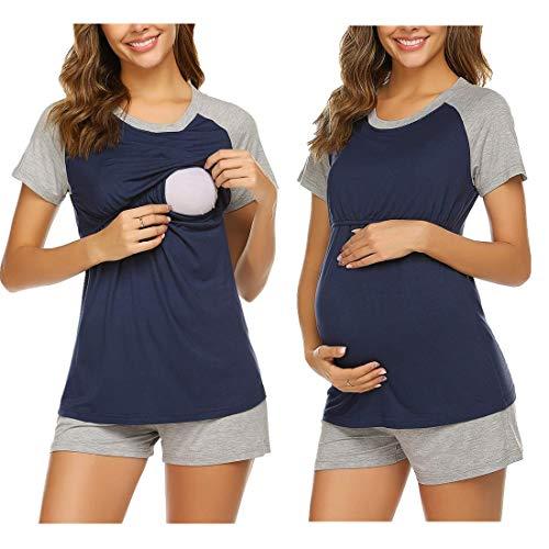 MAXMODA Pijama Lactancia Cortos Ropa para Dormir Premamá Verano Maternidad Pijamas Conjunto Embarazo