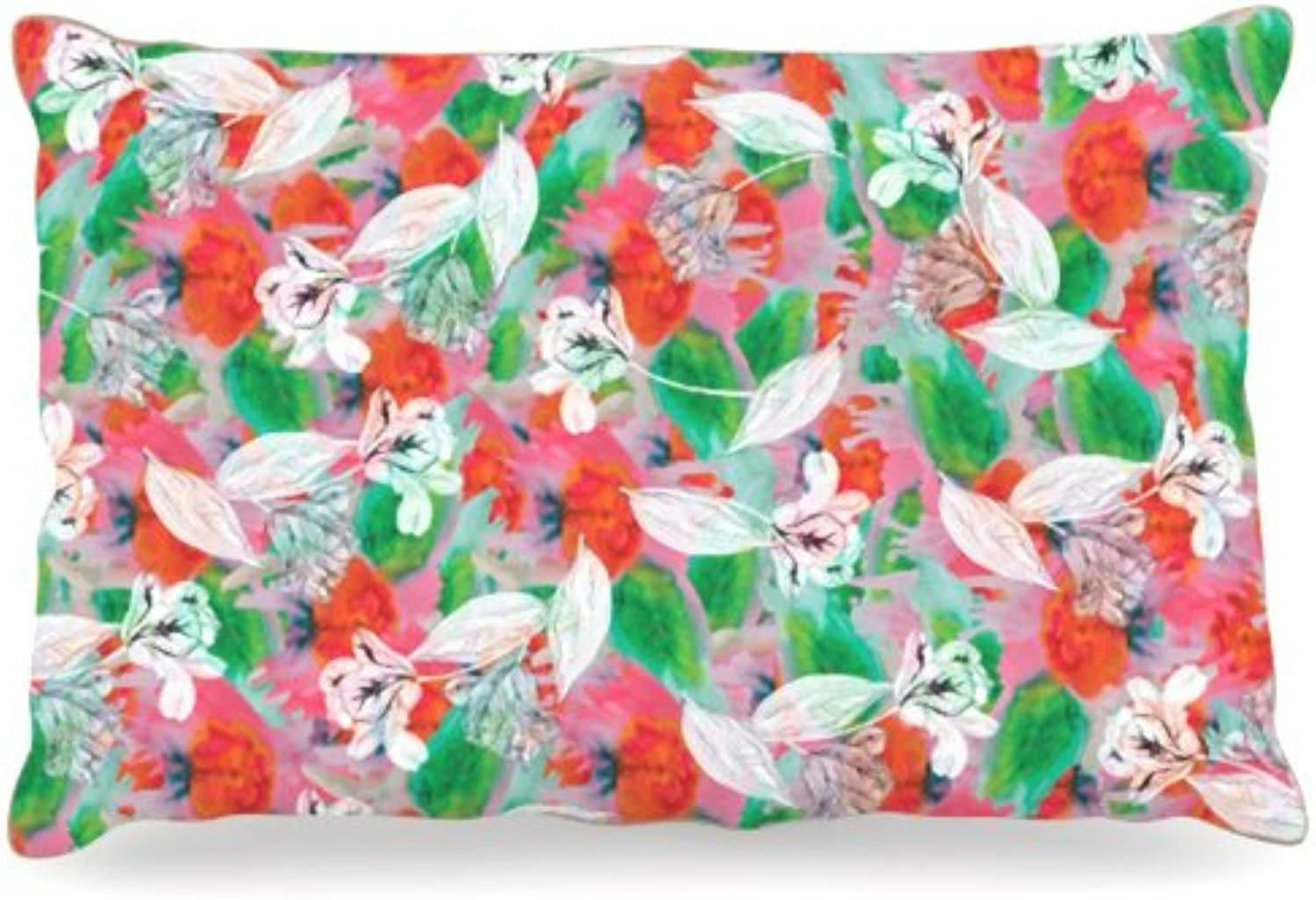 Kess InHouse Akwaflorell Flying Tulips Red Green Fleece Dog Bed, 30 by 40Inch