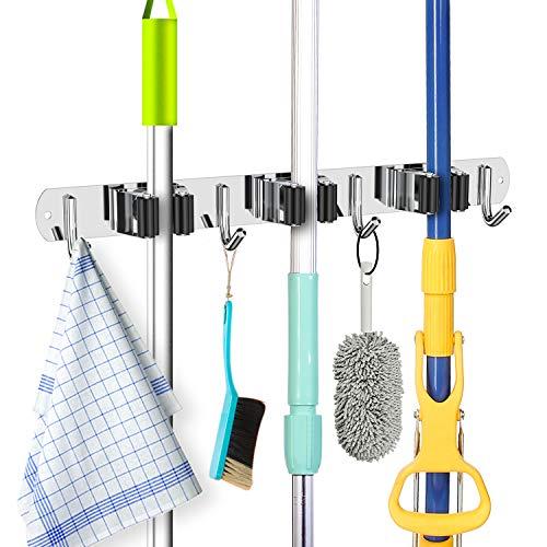 ZONGOOL Wischmopp Besenhalter Wandhalterung Haken Edelstahl Wandmontage Heavy Duty Tools Aufhänger mit 3 Racks 4 Haken Aufbewahrungssysteme für Zuhause Schrank Garten Utility Rack 3 Racks 4 Hooks