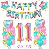 Cumpleaños Globos 11, Decoración de cumpleaños 11 en Rosa, 11er Cumpleaños Globos, Feliz cumpleaños Decoración Globos 11 Años, Globos Numeros para Cumpleaños Fiesta Decoración
