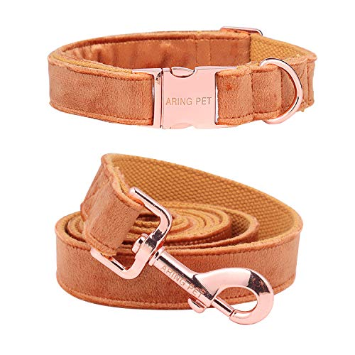 ARING PET Dog Collar and Leash, Velvet Dog Collar and Leash Set, Soft & Comfy, Adjustable Collars for Dogs
