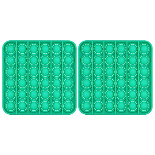Push Pop Bubble Fidget Sensory Toy Special Needs Anxiety Stress Reliever Flower Shape for Kids, Family and Friends, 2 Pack, Square Green
