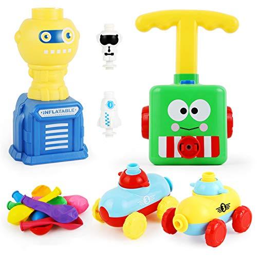 Raburt Ballonwagenwerfer Set Ballonauto Ballonwerfer Spielzeug für Kinder Inertial Power Ballonauto Spielzeug Aufblasbar