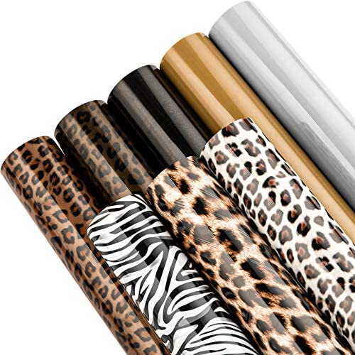 Whaline 8 Sheets Leopard Patterned Heat Transfer Vinyl Black Gold Grey HTV Iron on Vinyl Adhesive product image