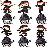 Ninja Cupcake Toppers 18 Pcs - Ninja Themed Kids boys Birthday Party Event glitter Decoration Supplies