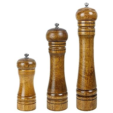 Antrader Salt and Pepper Grinder Set Mill Spice Shaker Wooden Grinder Kit Wood Color 5 Inch,8 inch,10 Inch, Set of 3