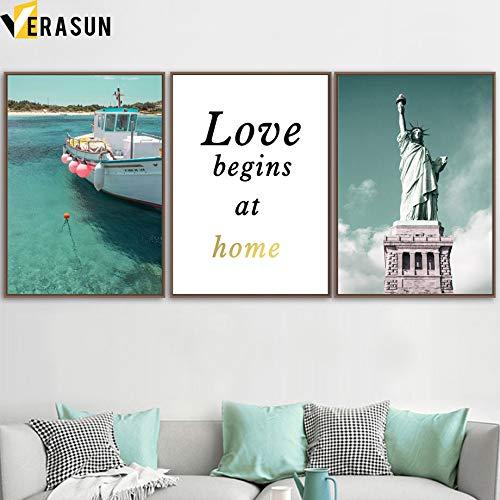 XWArtpic Sea Leaf Ship Statua della libertà Edificio Wall Art Canvas Painting Nordic Posters And Prints Immagini murali per Living Room Decor 60 * 60cm