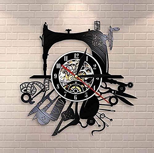 Reloj de Pared de Vinilo Máquina de Coser Colgante de Pared Arte Hobby Decoración de Pared Artesanía Disco de Vinilo Reloj de Pared Diseñador de Moda S Hermoso Letrero de Pared