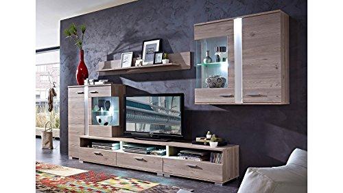 Möbel Akut Wohnwand Malibu 1 Landhausmöbel Anbauwand Silbereiche Dekor Vitrine mit LED