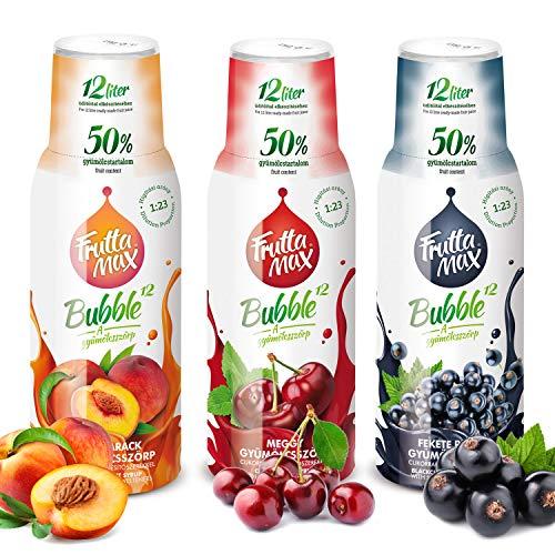 Getränkesirup Frucht Sirup | Johannisbeeren-Kirschen-Pfirsiche Geschmack mit 50% Fruchtanteil | Frutta Max für Soda Maschine geeignet 3erPack(3x500ml)