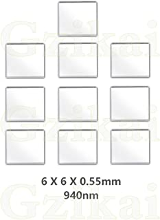 Gzikai 10pcs/1 Lot 6mm×6mm×0.55mm 940nm IR Infrared Narrow Bandpass Filter Optical Glass FWHM NBF940 for Camera Lense and Face Recognition