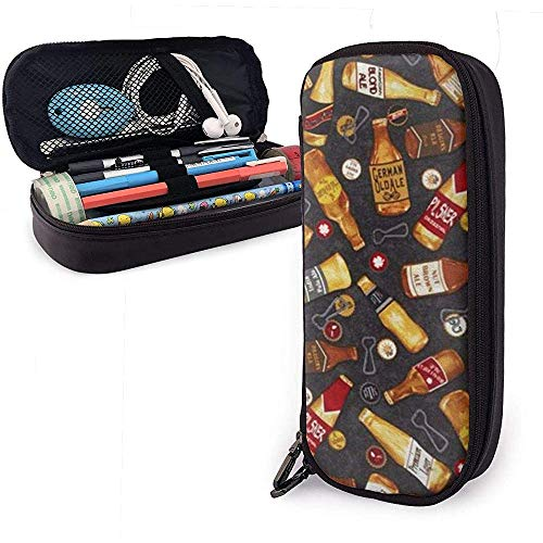 Diverse wijnen Potlood Case briefpapier Organizer Multifunctionele Cosmetische Make-up Bag Dubbele Rits Leer