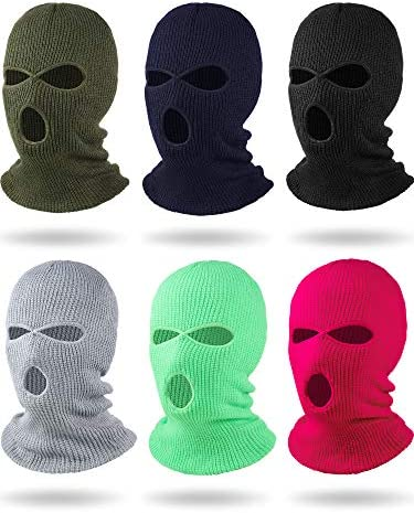 6 Pieces Beanie Face Covering Winter Balaclava 3 Hole Knitted Ski Full Face Covering for Winter product image