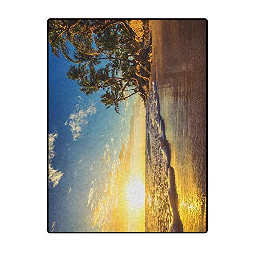 Ocean Bedroom Rugs Patio Rug Rug pad Marine Carpet Image of Palm Trees on Exotic Beach at Sunset with Waves in The Ocean Dominican Paradise Multi 6.5 x 9.8 Ft