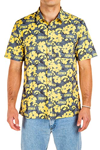 Tellum and Chop NCAA Iowa Hawkeyes Hawaiian Button Up Short Sleeve Camp Shirt (Large, Black Yellow Floral Print)