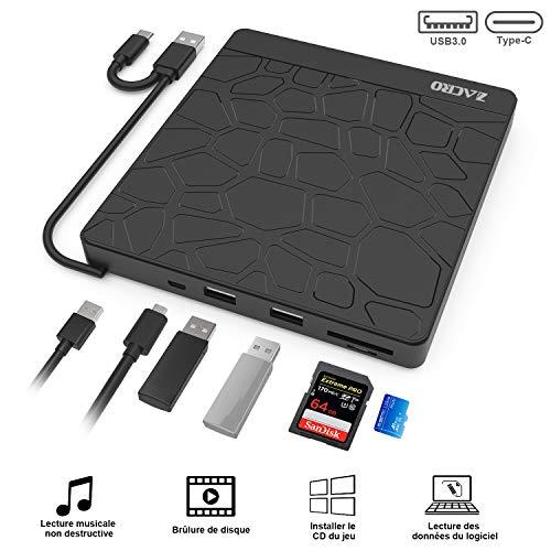 Zacro Lecteur CD/DVD, USB 3.0 Type-C à Double Port, Enregistreur et Lecteur CD-RW/VCD-RW Ultra-Fin à Faible Bruit, Lecteur CD avec 5 Ports (2 USB-A, Micro USB, SD, TF) pour MacBook,Ordinateur,WinXP