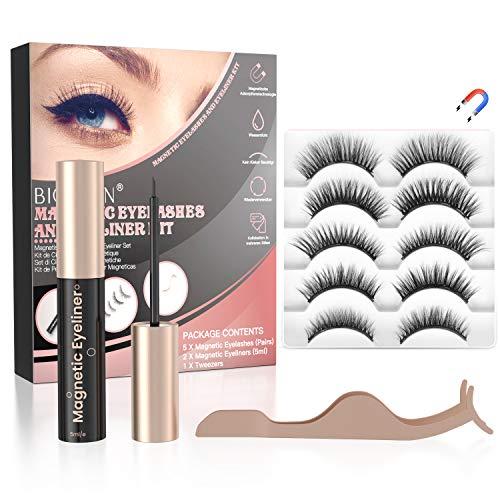 【5Paar】Magnetische Wimpern Set, Künstliche Falsche Wimpern mit Magnet Wasserdichtem, 3D Magnetic Lashes Wiederverwendbare, Magnetwimpern Natürlich und Langlebigem mit 2 Eyeliner und Pinzette