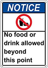 Weatherproof Plastic Vertical ANSI Notice No Food Or Drink Allowed Beyond This Point Sign with English Text and Symbol
