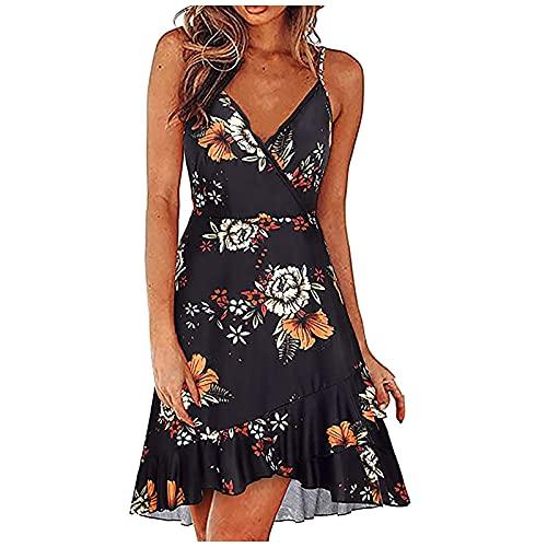 Liably Vestido sexy para mujer, sin mangas, cuello en V, estilo bohemio, elegante, suelto, holgado, ligero, moderno, multicolor, para la playa, corto azul oscuro XXL