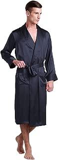 LilySilk Men's Silk Robe Long Tea Length Lapel Collar 22 Momme 100 Pure Silk Long Sleeve with Pockets