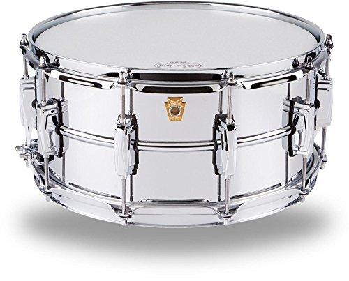 Ludwig lm402glatten chrom vergoldet Aluminium 16,5x 35,6cm Snare Drum mit Imperial Befestigungslaschen und supra-phonic Sieb