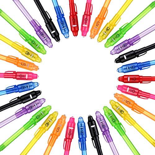 Bolígrafo de Tinta Invisible lápiz espía con rotulador mágico de luz UV para Mensajes Secretos y Fiestas para Cumpleaños Infantiles Festival de Música Fiesta … (30 Bolígrafos)