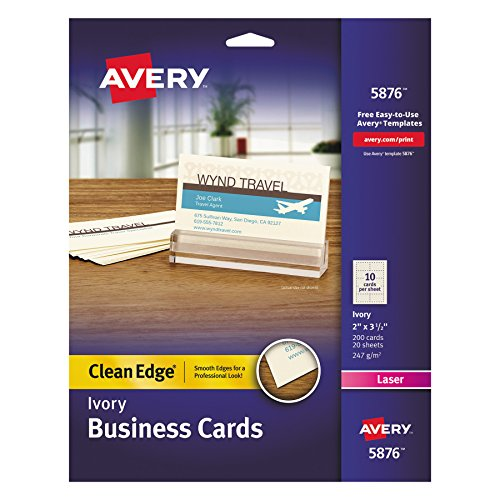 Avery 5876 Two-Side Printable Clean Edge Business Cards for Laser Printers Ivory, Pack of 200