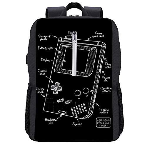Gameboy Blueprint Rucksack Daypack Bookbag Laptop Schultasche mit USB-Ladeanschluss