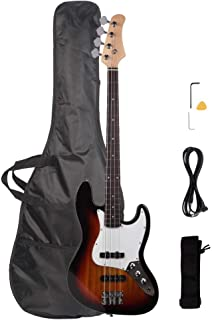 Waful Electric Bass Guitar، Starters Acoustic Bass Guitar Beginner Kit Full Size 4 String SS Pick Up with Bag Guitar، Strap، Amp Wire، Wrench Tool، Plectrum for Starter Gift Sunset Color