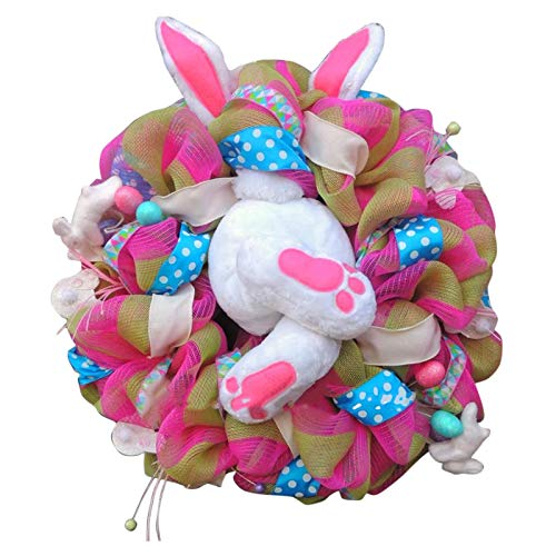 Thief Bunny Butt Wreath Easter Buny Wreath Cartoon Rabbit Front Door Wreath Festival Hanging Decoration Garland Wall Decor Easter Home Holiday Party Decorations Gift