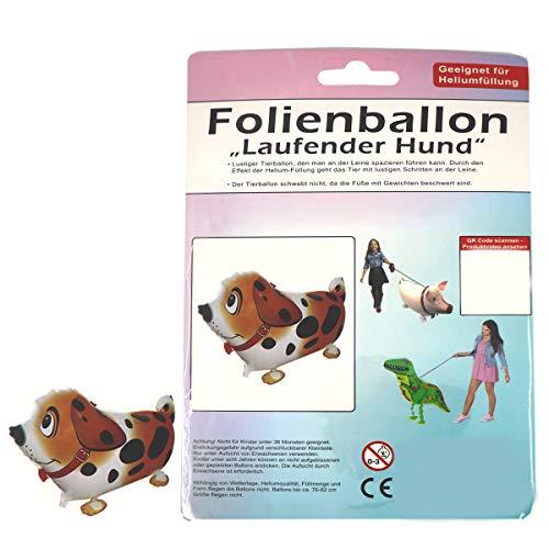 G&M Folienballon Airwalker Laufender Hund Braun Tier Luftballon Kindergeburtstag Party Deko