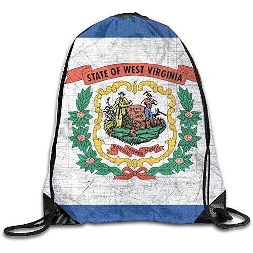 wallxxj Drawstring Bags Rétro West Virginia State Drapeau Imprimer Cordon Sac À Dos Durable Cinch Sacs Cordon Sacs Casual Randonnée École De Mode Étudiant Léger Voyage Loisirs