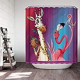 KISY Comics of Giraffe and Flamingos Duschvorhang Crazy Zoo Cartoon Stoff Wasserdichter Duschvorhang Lila Rot Badezimmer Duschvorhang Standardgröße 177,8 x 177,8 cm